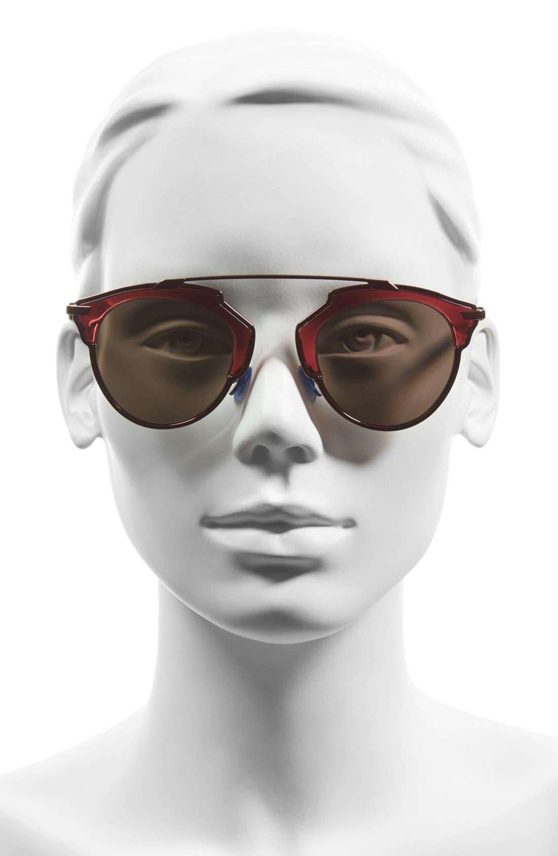 ,                             So Real 48mm Brow Bar Sunglasses,                             Alternate thumbnail 55, color,                             510