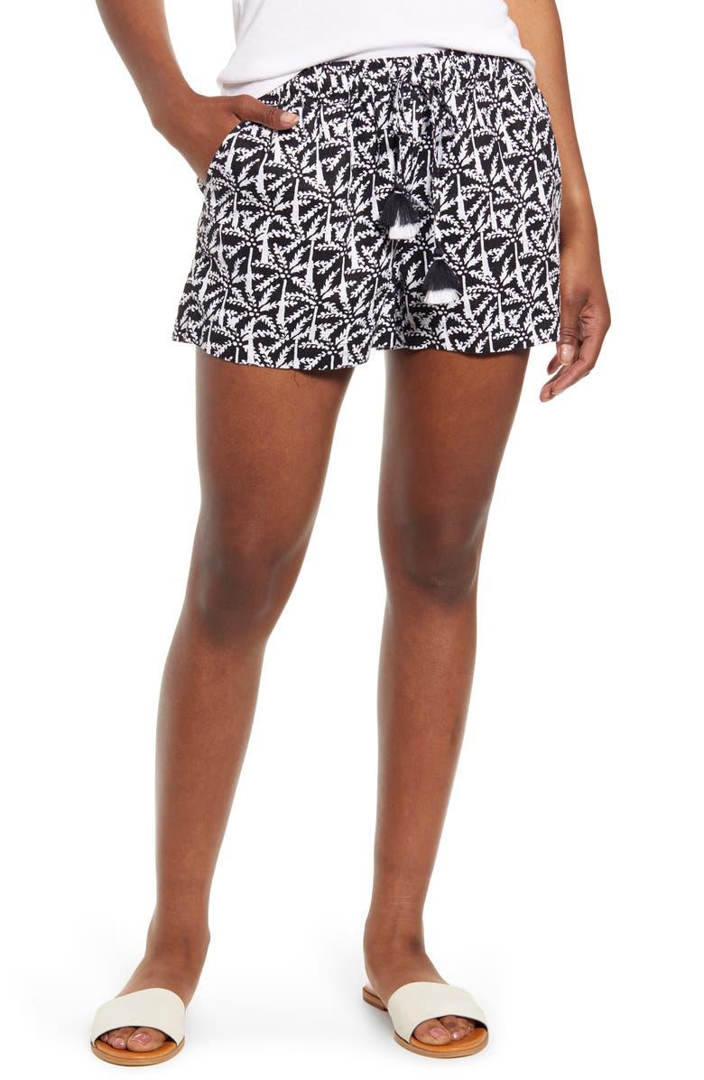 VINEYARD VINES Palm Print Tassel Tie Linen Shorts, Main, color, 002