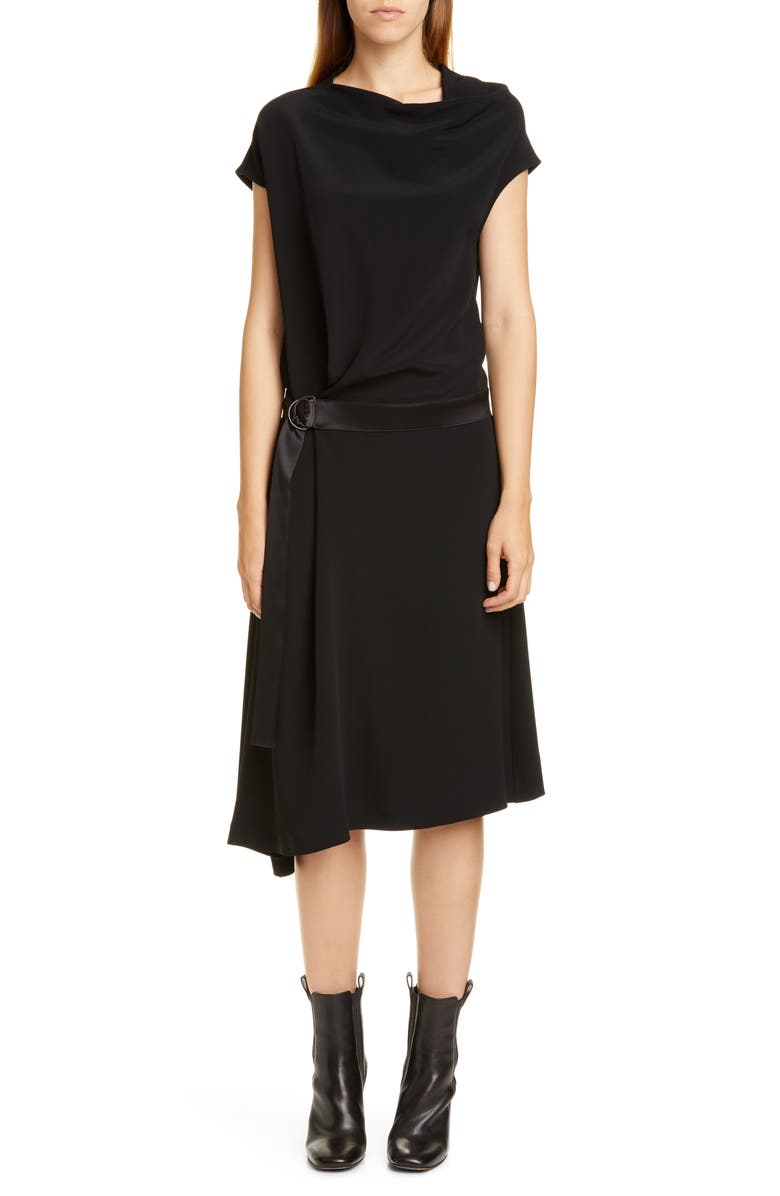 BRUNELLO CUCINELLI Belted Asymmetrical Dress, Main, color, BLACK