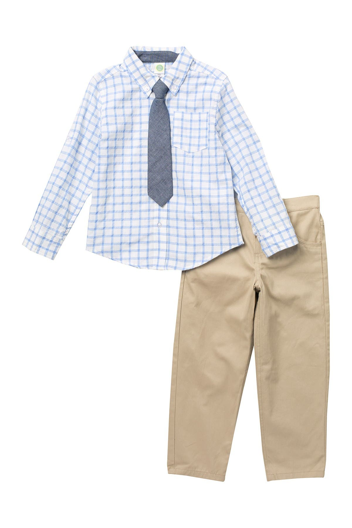 Image of Little Me Tattersall Woven Shirt & Pant Set
