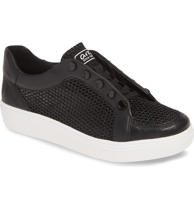 ARA Natasha Slip-On Sneaker, Main, color, BLACK LEATHER