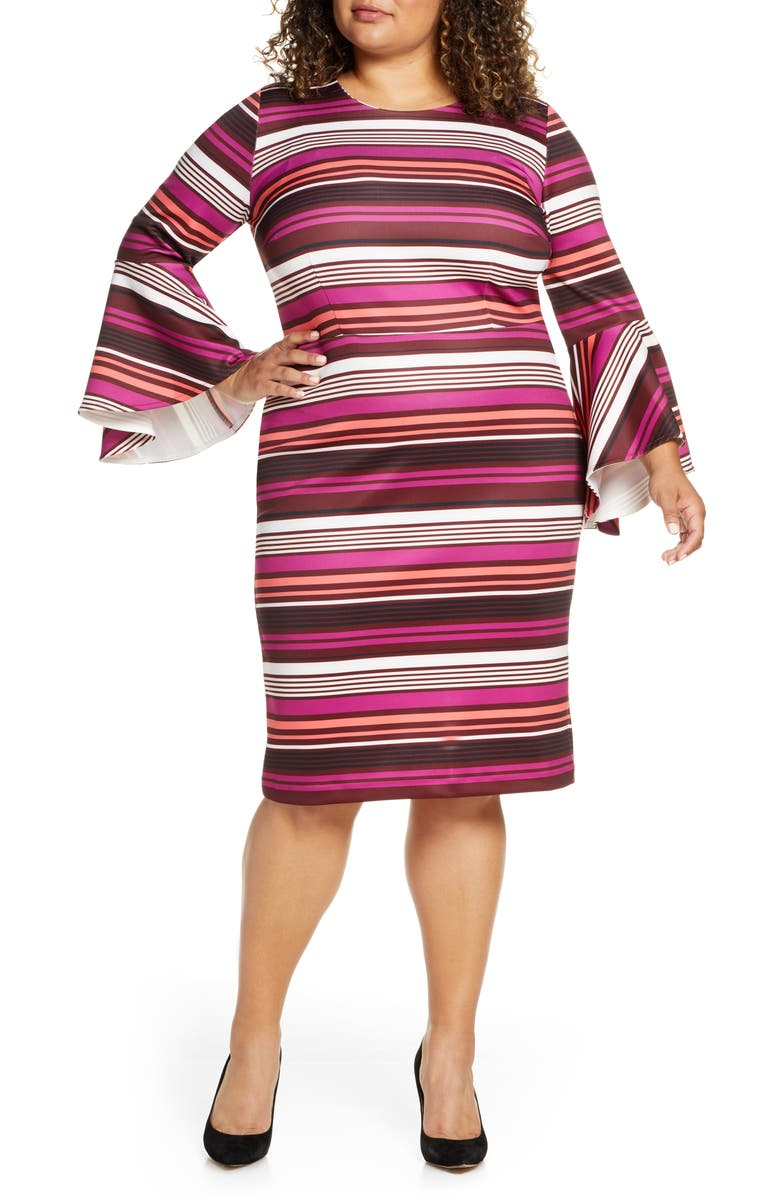 ELOQUII Long Sleeve Scuba Sheath Dress, Main, color, THE BRIGHT STRIPES