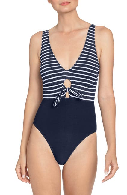 Image of Robin Piccone Sailor Tie Front One-Piece Swimsuit