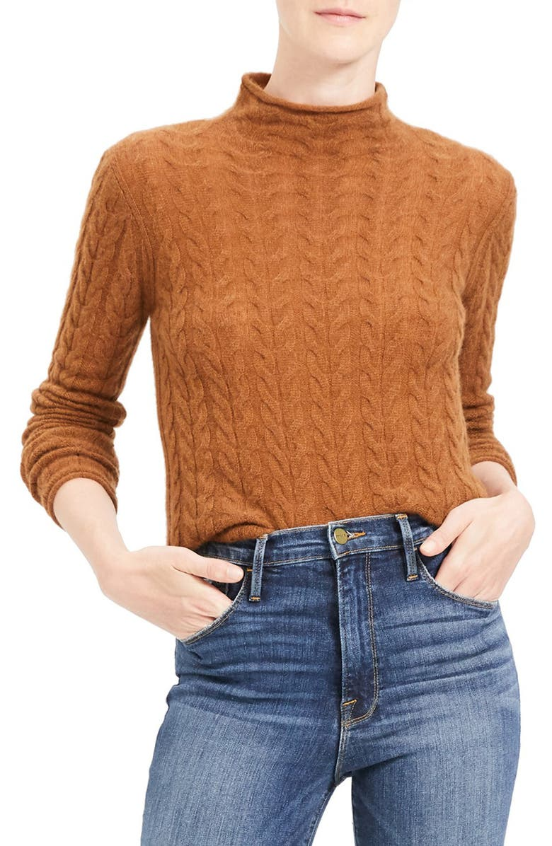 THEORY Mock Neck Cable Knit Cashmere Sweater, Main, color, COCOA