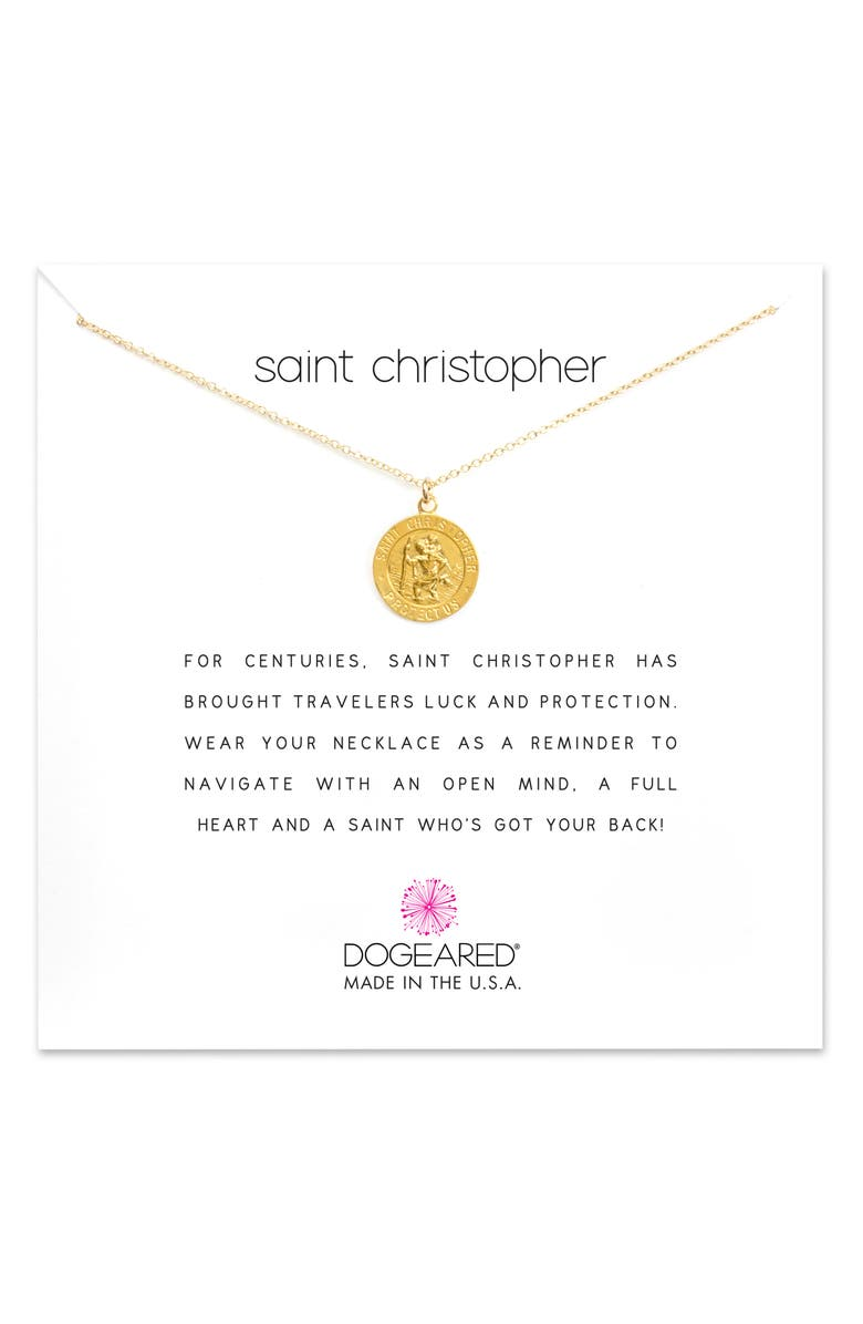 DOGEARED St. Christopher Pendant Necklace, Main, color, GOLD