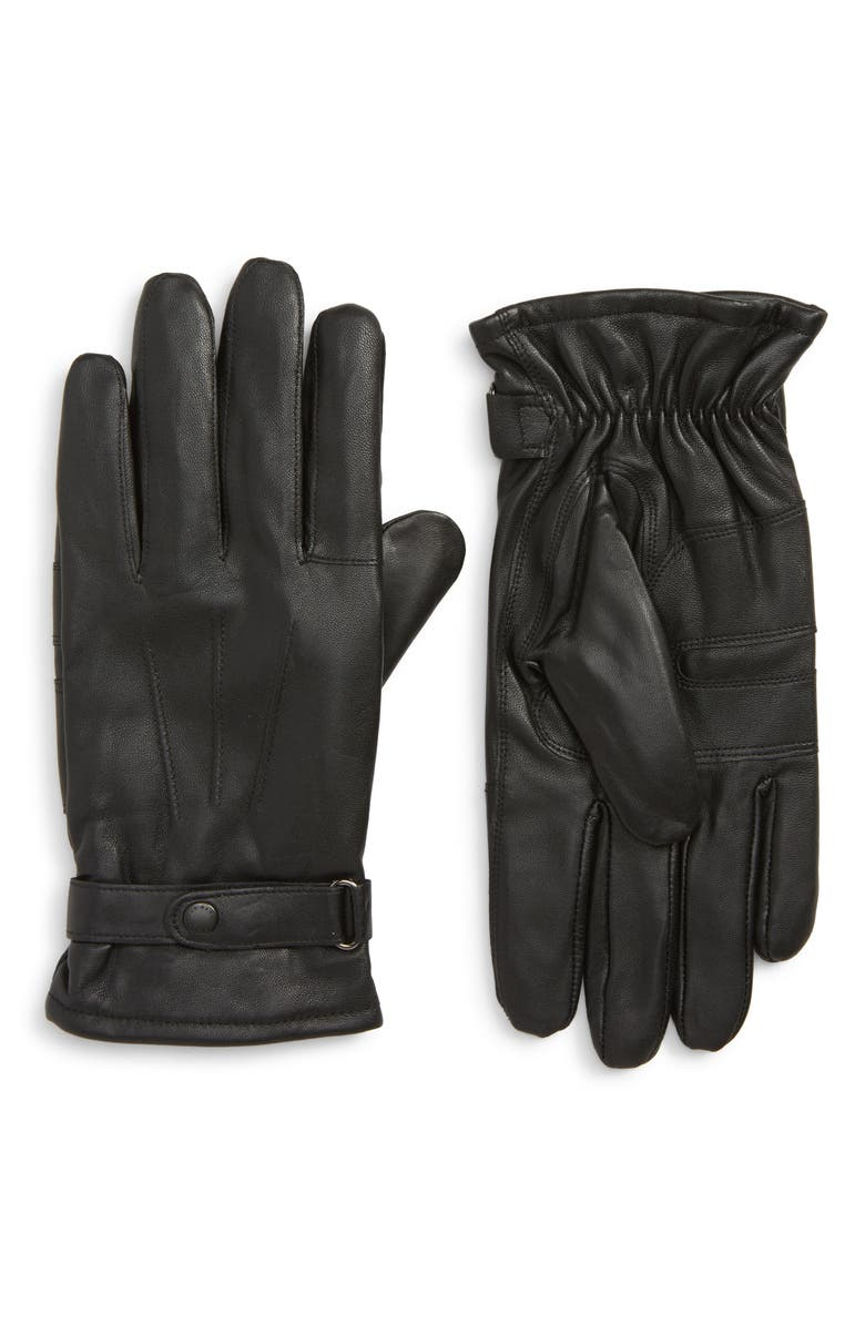 BARBOUR Burnished Leather Gloves, Main, color, 001
