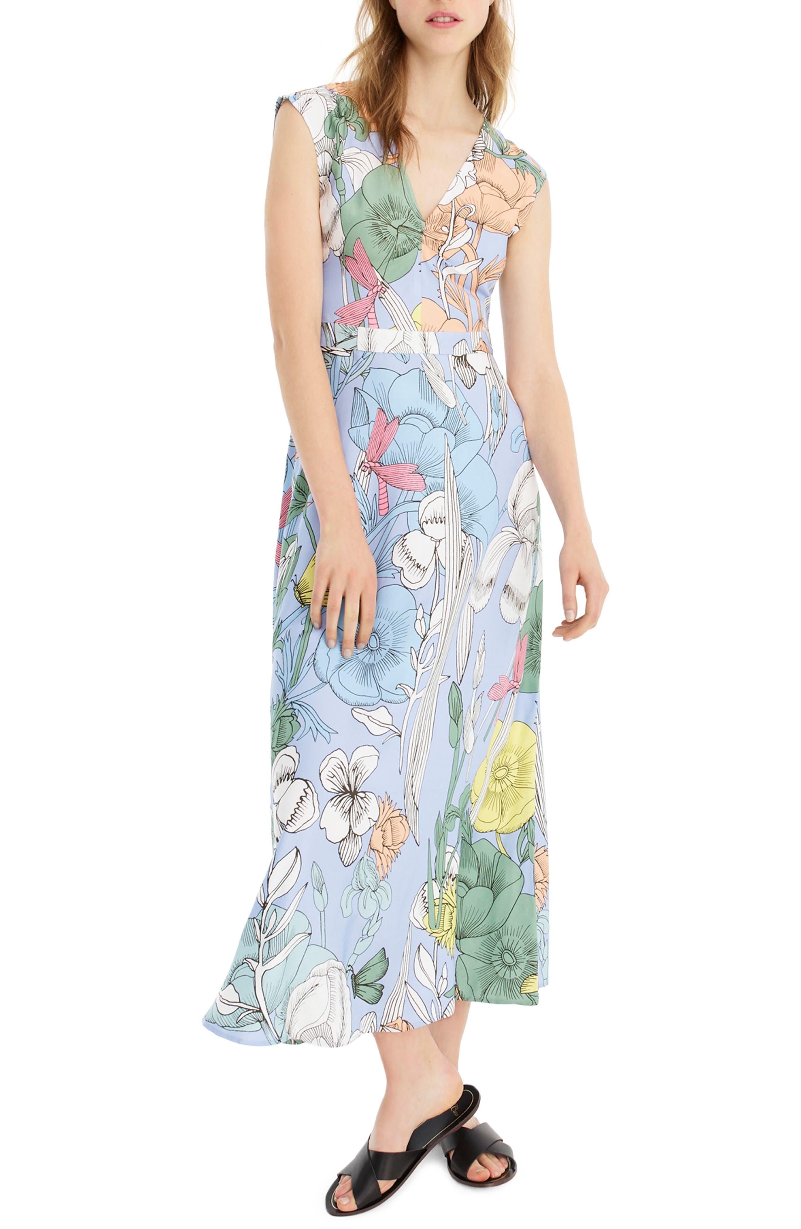J.crew Pastel Floral Maxi Dress, Blue