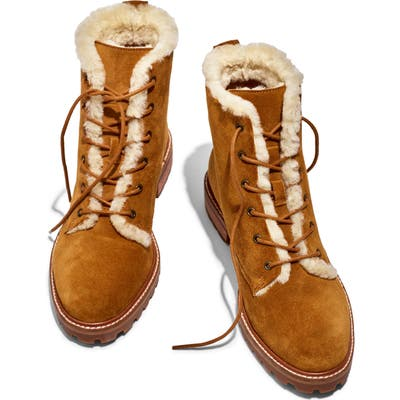 Madewell Clair Genuine Shearling Lined Lace-Up Suede Boot, Brown