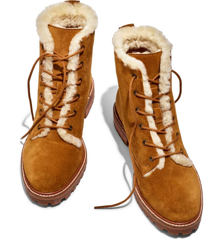 MADEWELL Clair Genuine Shearling Lined Lace-Up Suede Boot, Main, color, EQUESTRIAN BROWN SUEDE
