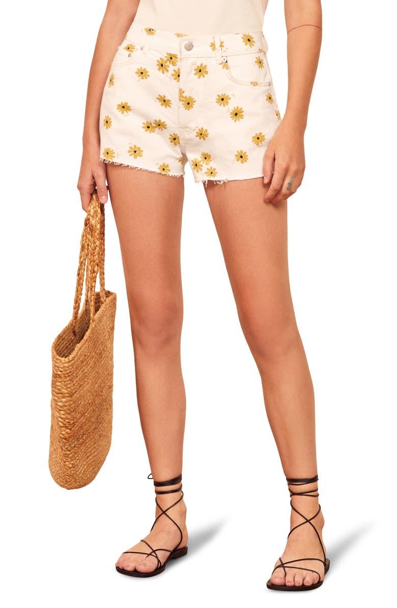 REFORMATION Dixie High Waist Cutoff Denim Shorts, Main, color, DAZED WHITE