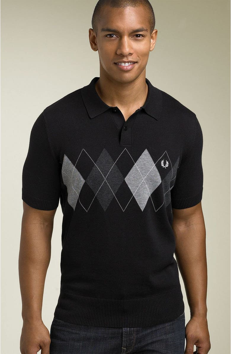 FRED PERRY Short Sleeve Argyle Sweater, Main, color, 001