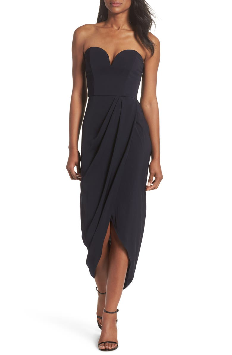 SHONA JOY Strapless Tulip Hem Dress, Main, color, NAVY