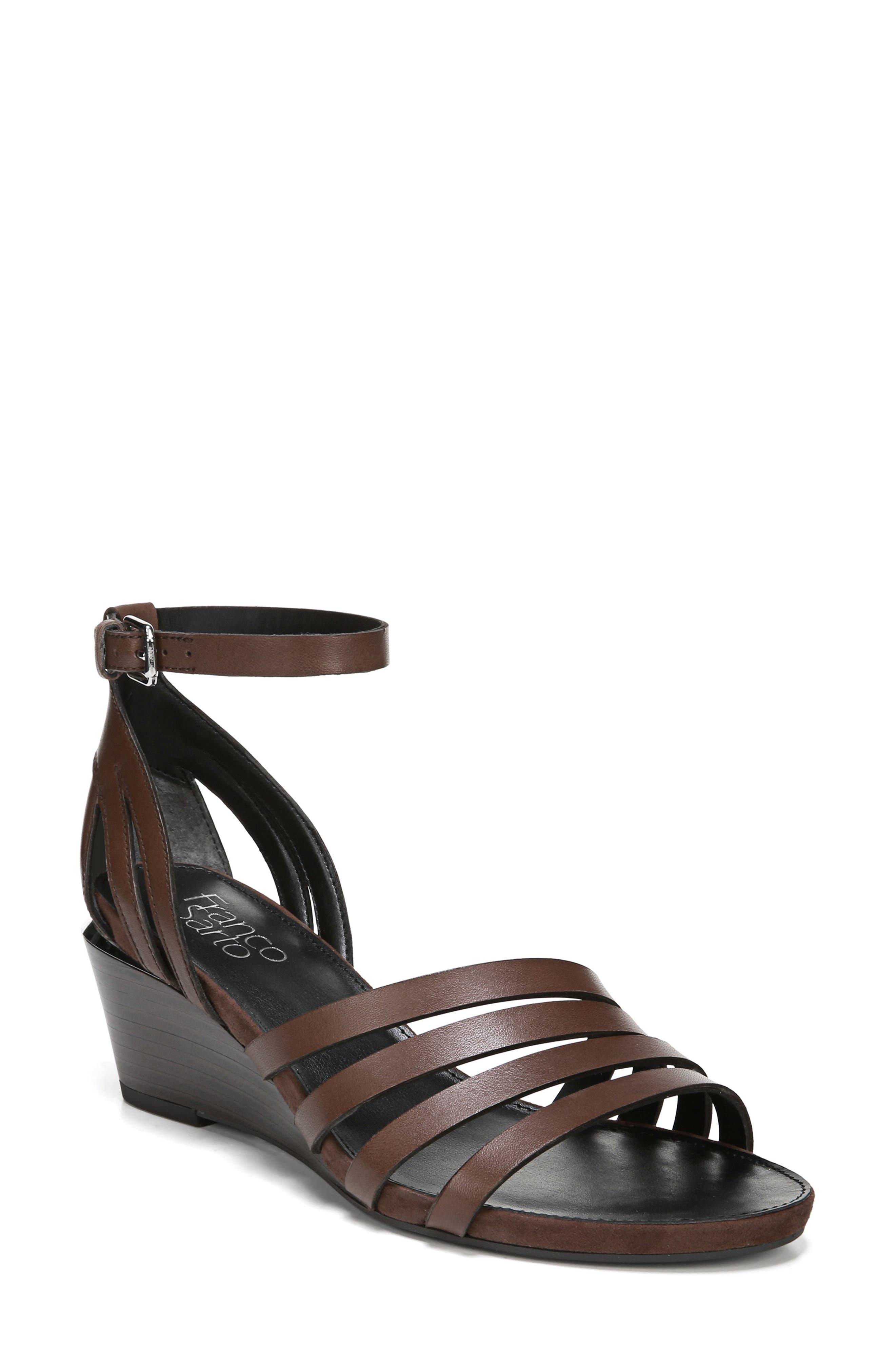 69ada69ce3af5 Franco Sarto Della Ankle Strap Wedge Sandal- Brown