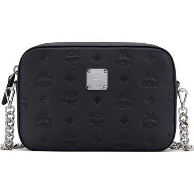Mcm Klara Monogram Embossed Leather Camera Bag - Black