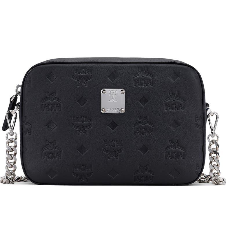 MCM Klara Monogram Embossed Leather Camera Bag, Main, color, BLACK