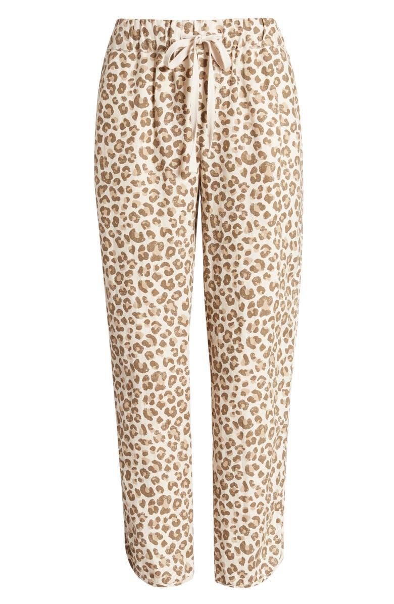 CASLON<SUP>®</SUP> Track Style Linen Pants, Main, color, BEIGE OYSTER LEOPARD DISTRESS