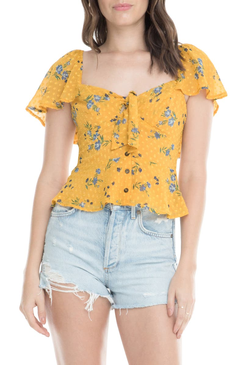 Astr The Label Karla Floral Clip Dot Ruffle Top Nordstrom