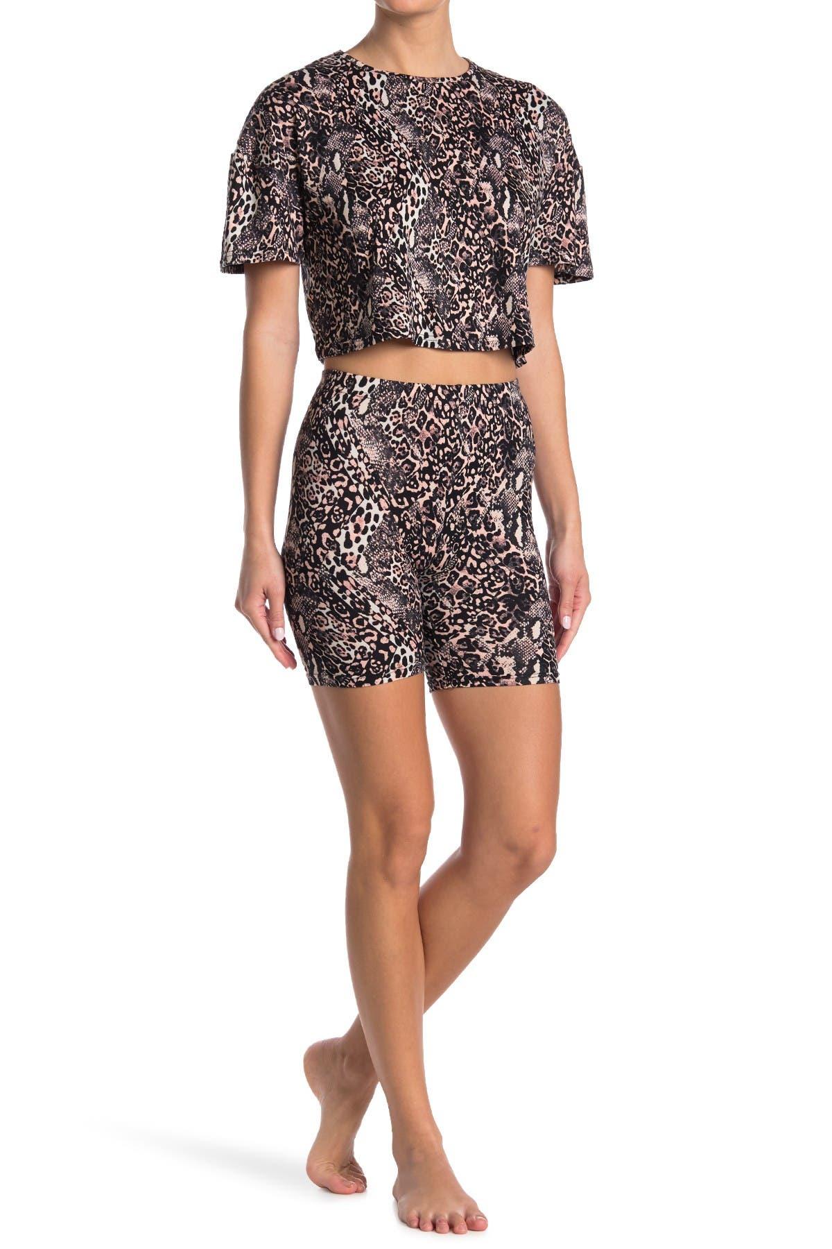 Image of FRENCH AFFAIR Animal Print T-Shirt & Bike Shorts Pajama 2-Piece Set