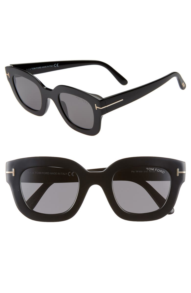 TOM FORD Pia 48mm Square Sunglasses, Main, color, 001