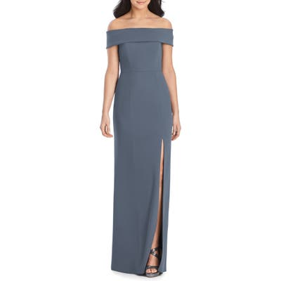 Dessy Collection Off The Shoulder Side Slit Crepe Gown, Grey