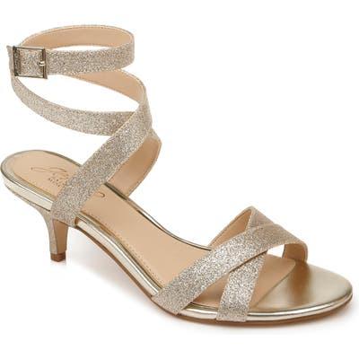 Jewel Badgley Mischka Newton Glitter Sandal, Metallic