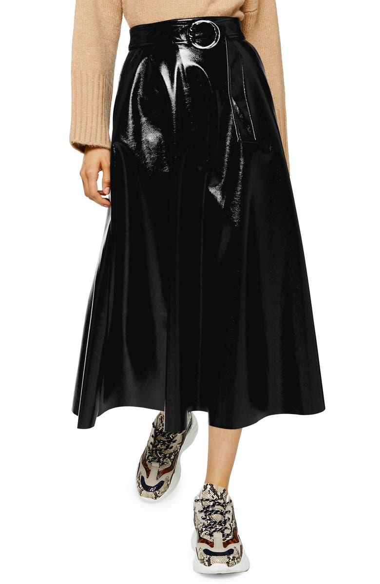 TOPSHOP Full Circle Vinyl Midi Skirt, Main, color, BLACK