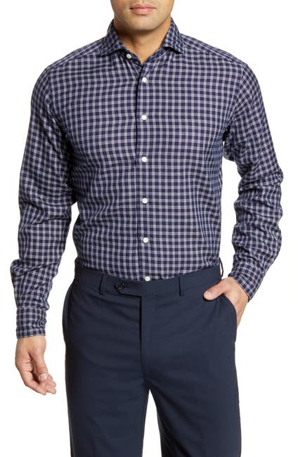 Image of Eton Soft Casual Line Contemporary Fit Check Button-Up Shirt