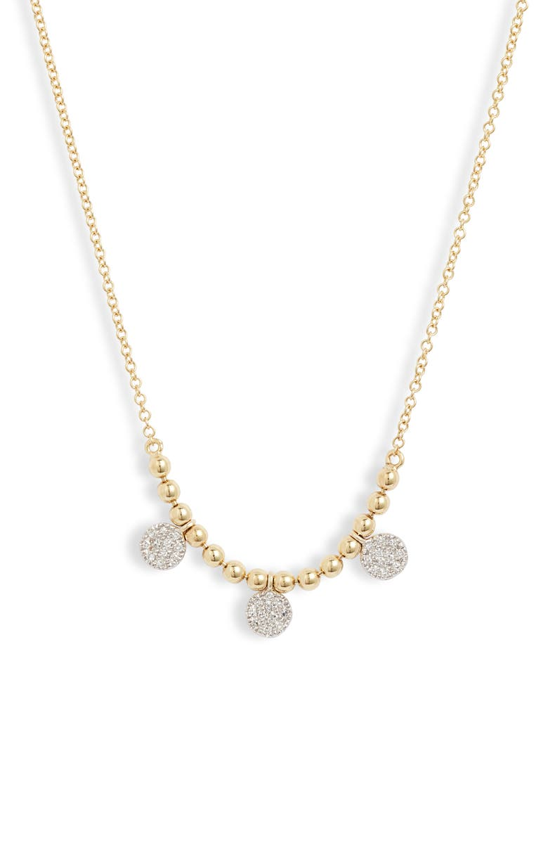 MEIRA T Pavé Diamond Frontal Necklace, Main, color, YELLOW/ WHITE GOLD