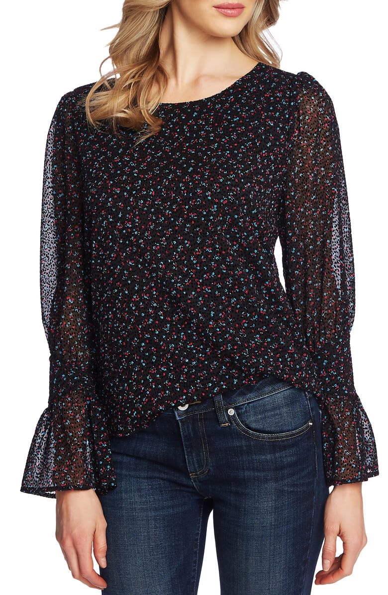 CECE Wistful Blooms Ruffle Cuff Blouse, Main, color, RICH BLACK