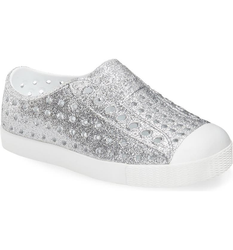 NATIVE SHOES Jefferson Bling Glitter Slip-On Vegan Sneaker, Main, color, SILVER BLING/ SHELL WHITE
