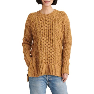 Alex Mill Button Side Aran Wool Blend Sweater, Yellow
