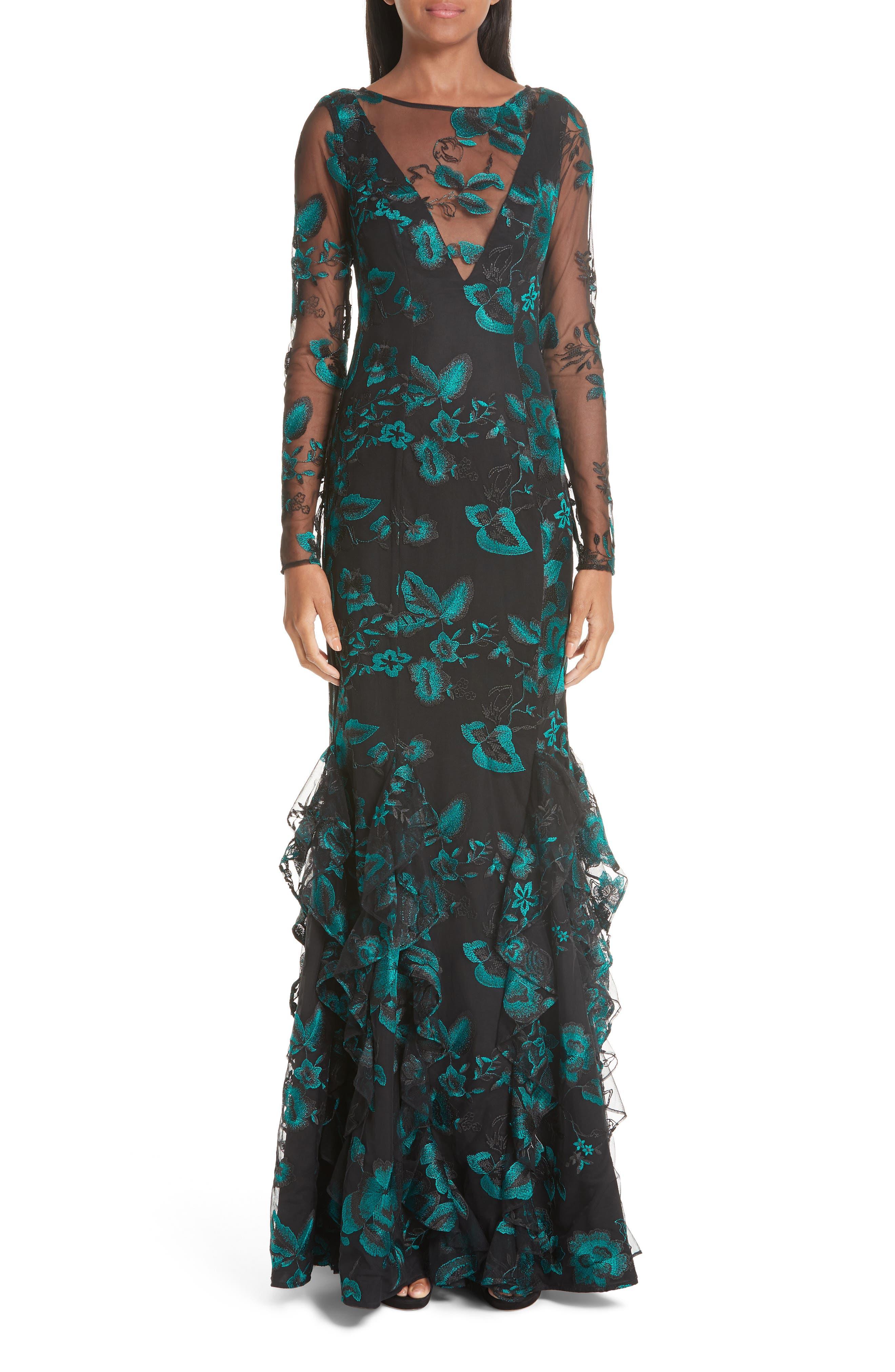 Zac Zac Posen Lindsay Print Ruffle Mesh Evening Dress