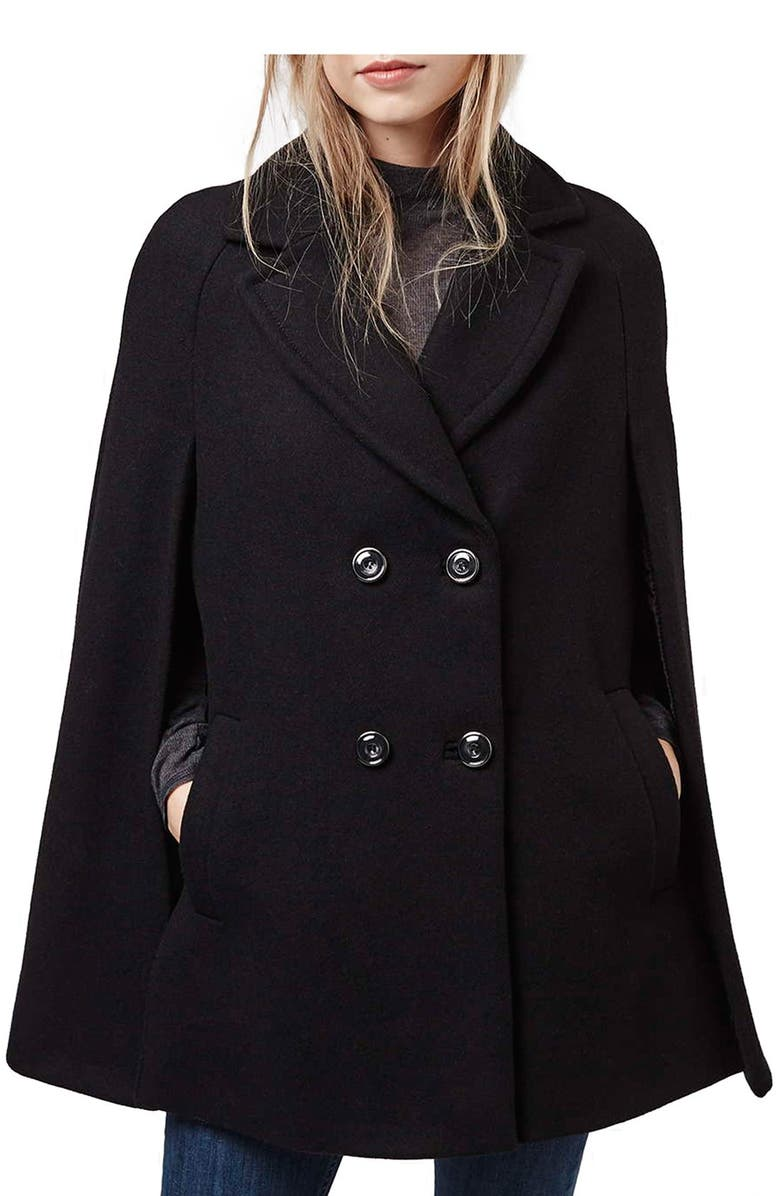 TOPSHOP Double Breasted Cape, Main, color, 001