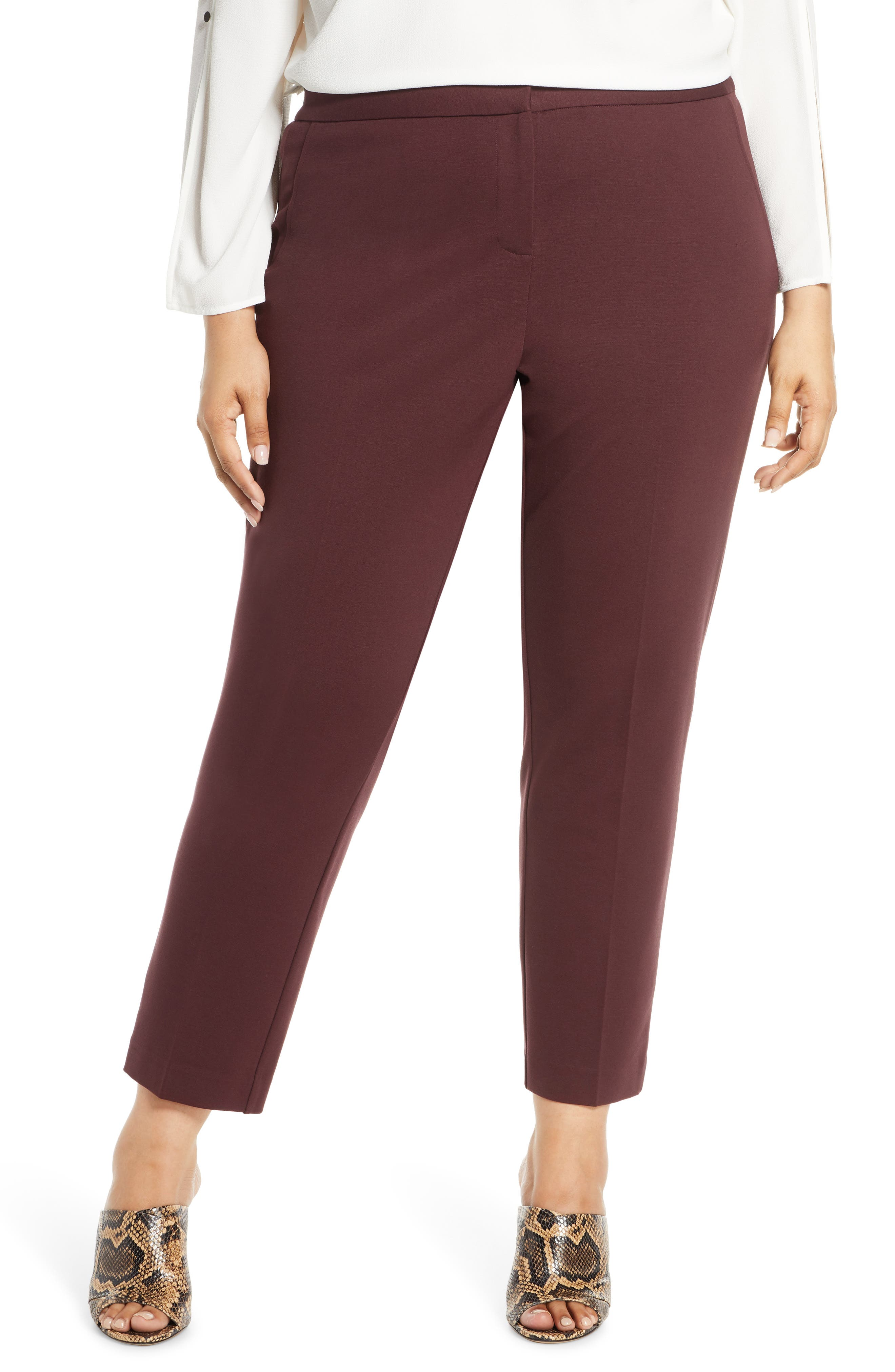 Vince Camuto High Rise Ankle Skinny Ponte Pants (Plus Size)