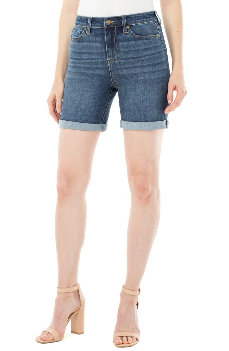 LIVERPOOL Kristy High Waist Rolled Shorts, Main, color, WARRENTON