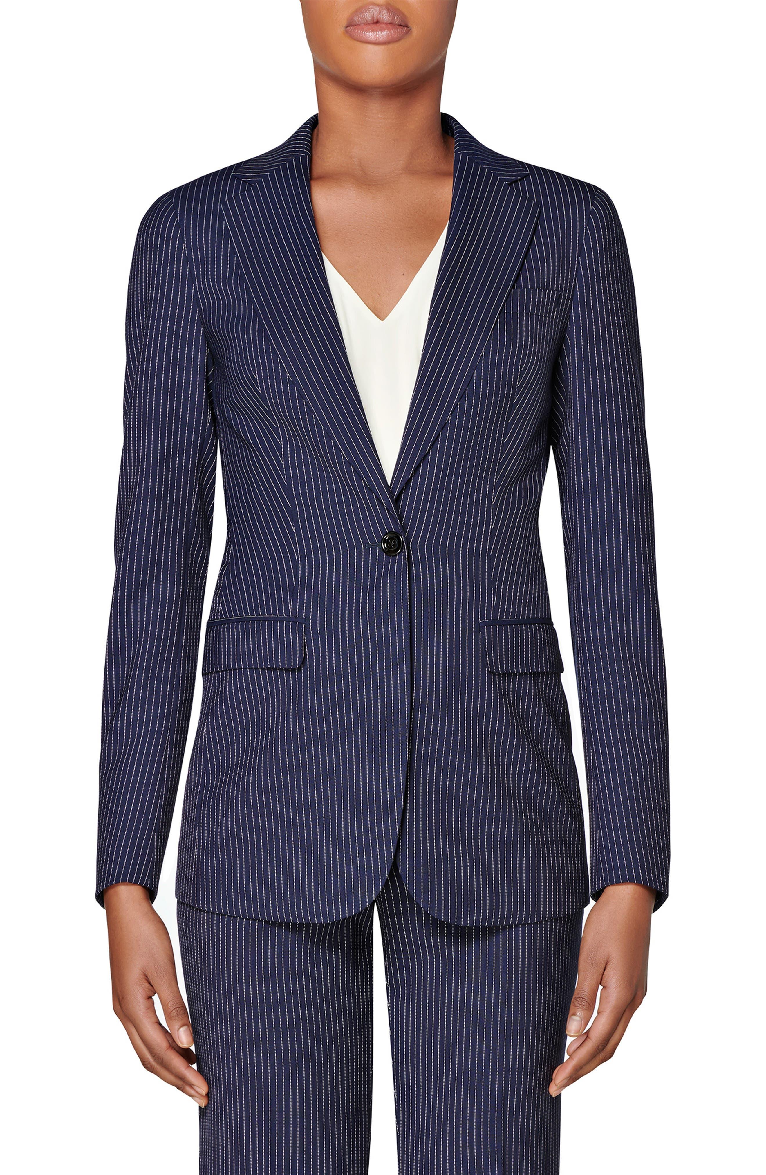 Image of SUISTUDIO Cameron Pinstripe Wool Suit Jacket