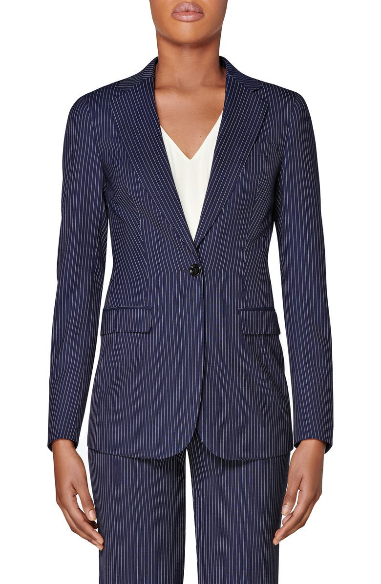 SUISTUDIO Cameron Pinstripe Wool Suit Jacket, Main, color, NAVY STRIPED