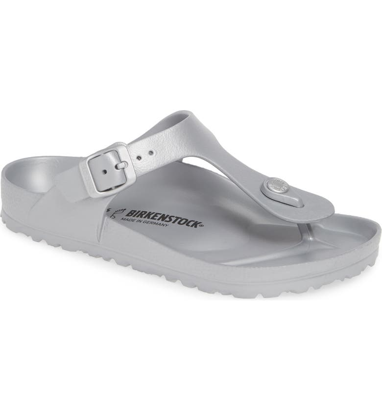 BIRKENSTOCK Essentials - Gizeh Flip Flop, Main, color, METALLIC SILVER