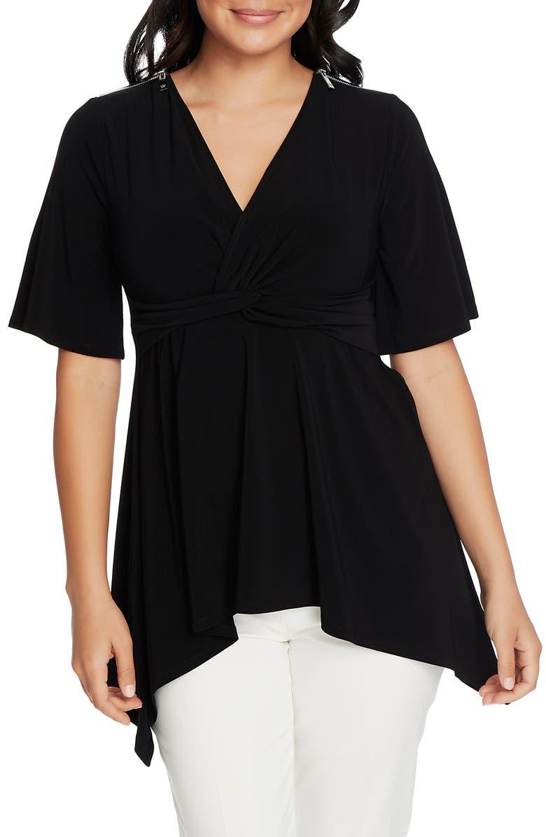CHAUS Zip Shoulder Twist Knot Top, Main, color, RICH BLACK