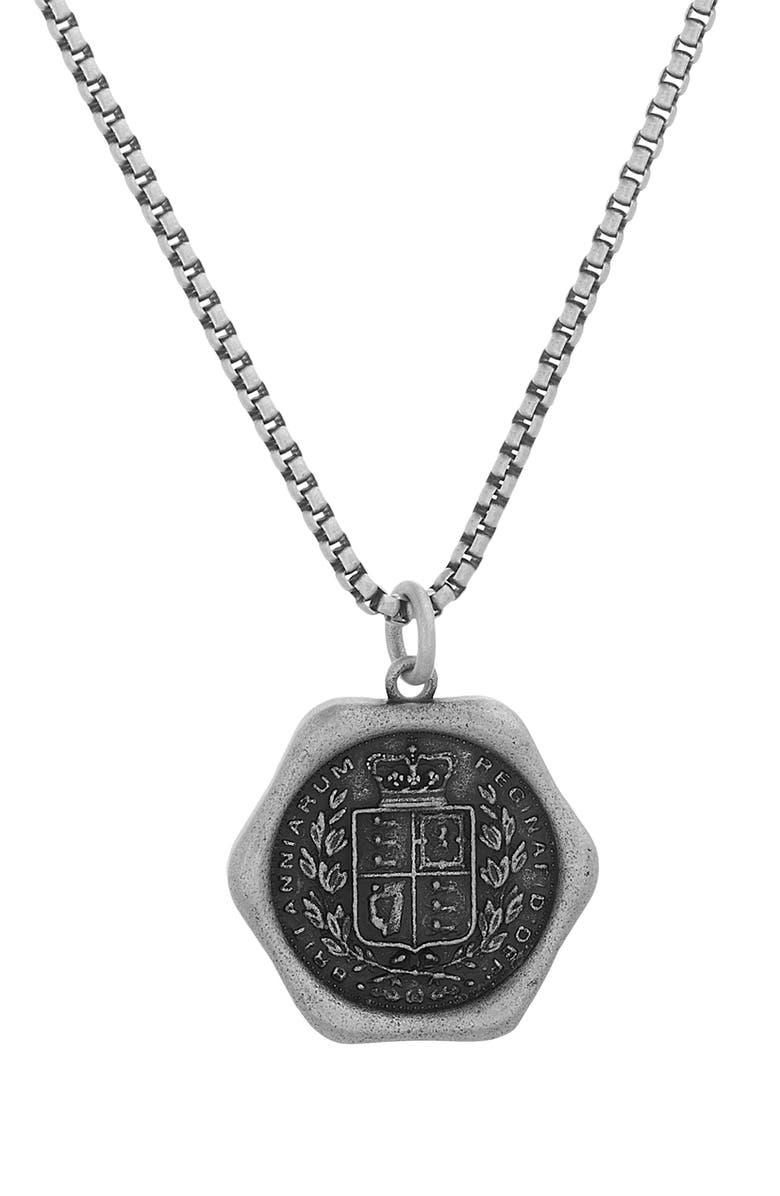 STEVE MADDEN Two-Tone Wax Seal Pendant Necklace, Main, color, 001