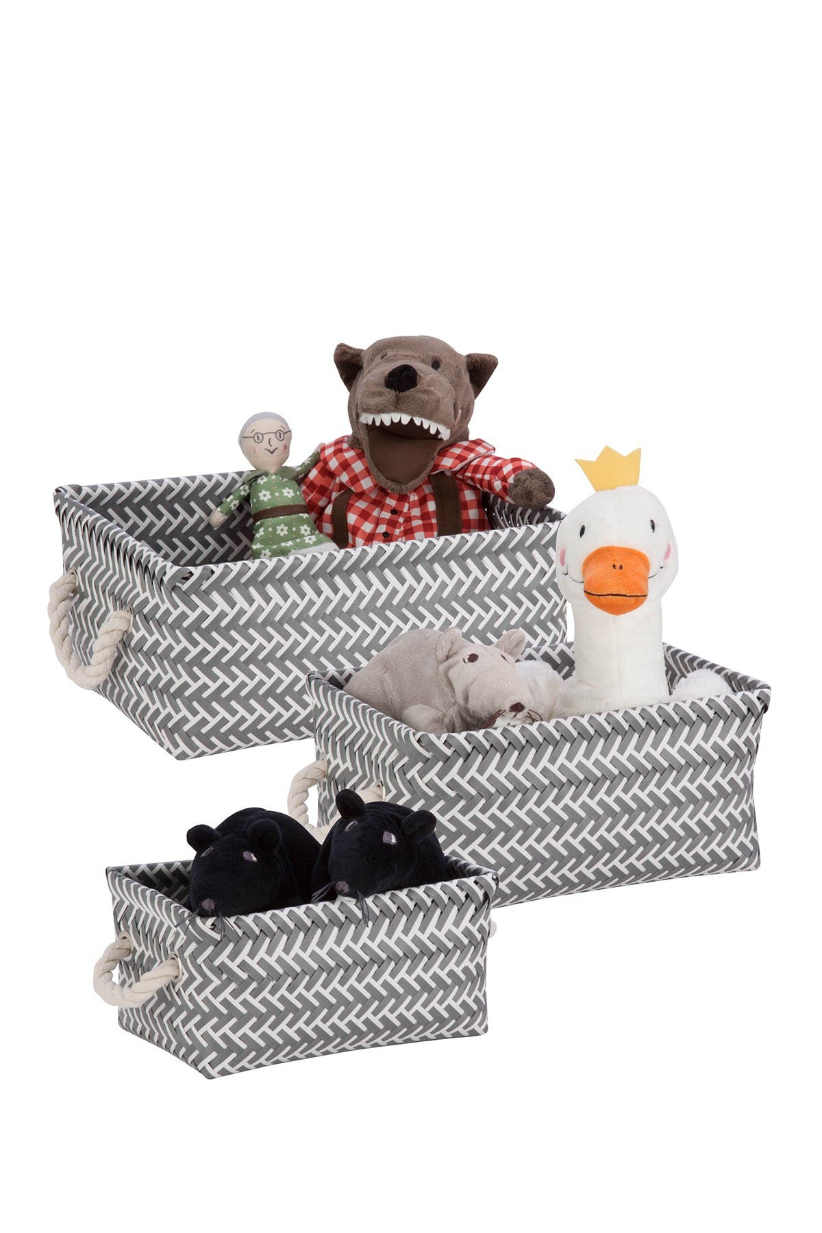 Image of Honey-Can-Do Zig Zag Pantone Cool Gray Baskets - Set of 3