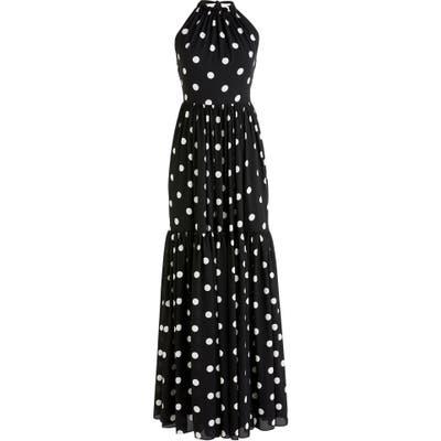 J.crew Dot Halter Neck Tiered Maxi Dress, Black