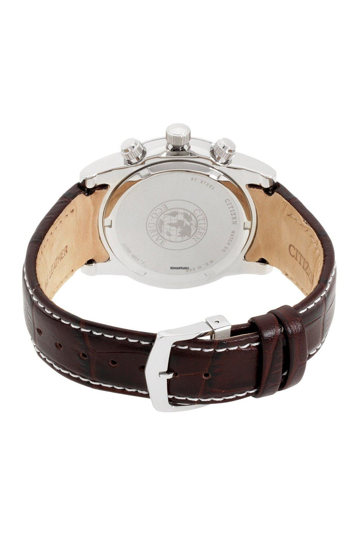 Image of Citizen Men's Eco-Drive Brown Leather Chronograph Watch, 42mm