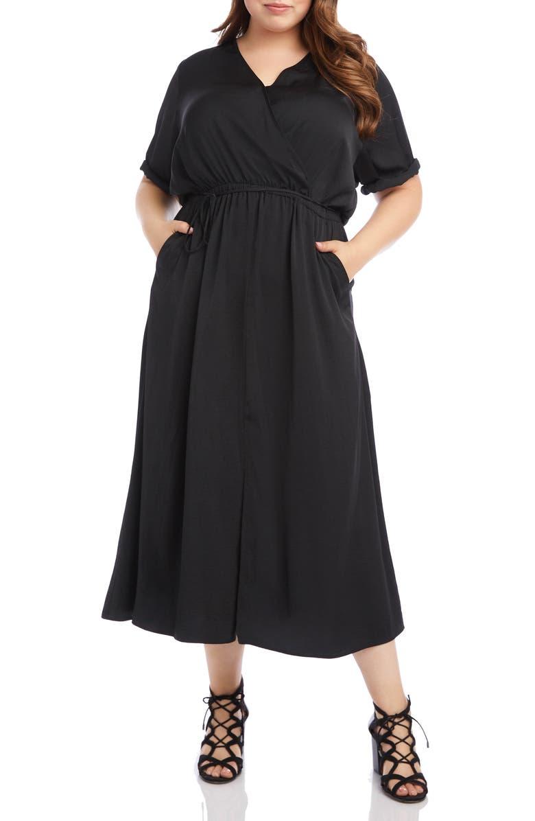 KAREN KANE Cuffed Sleeve Midi Dress, Main, color, BLK