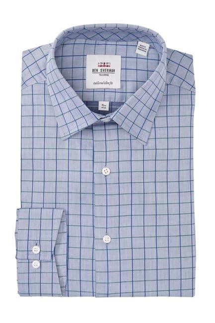 Image of Ben Sherman Checkered Tailored Slim Fit Dress Shirt