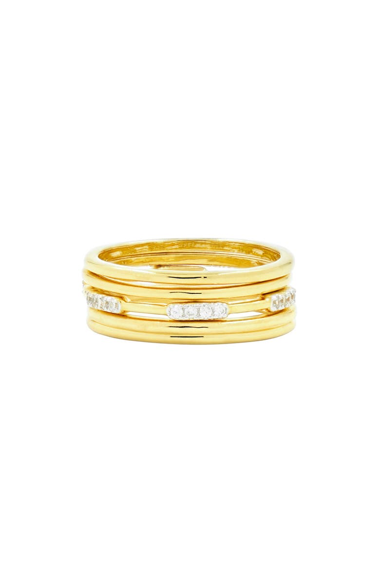 FREIDA ROTHMAN Radiance Stacking Ring, Main, color, SILVER/ GOLD