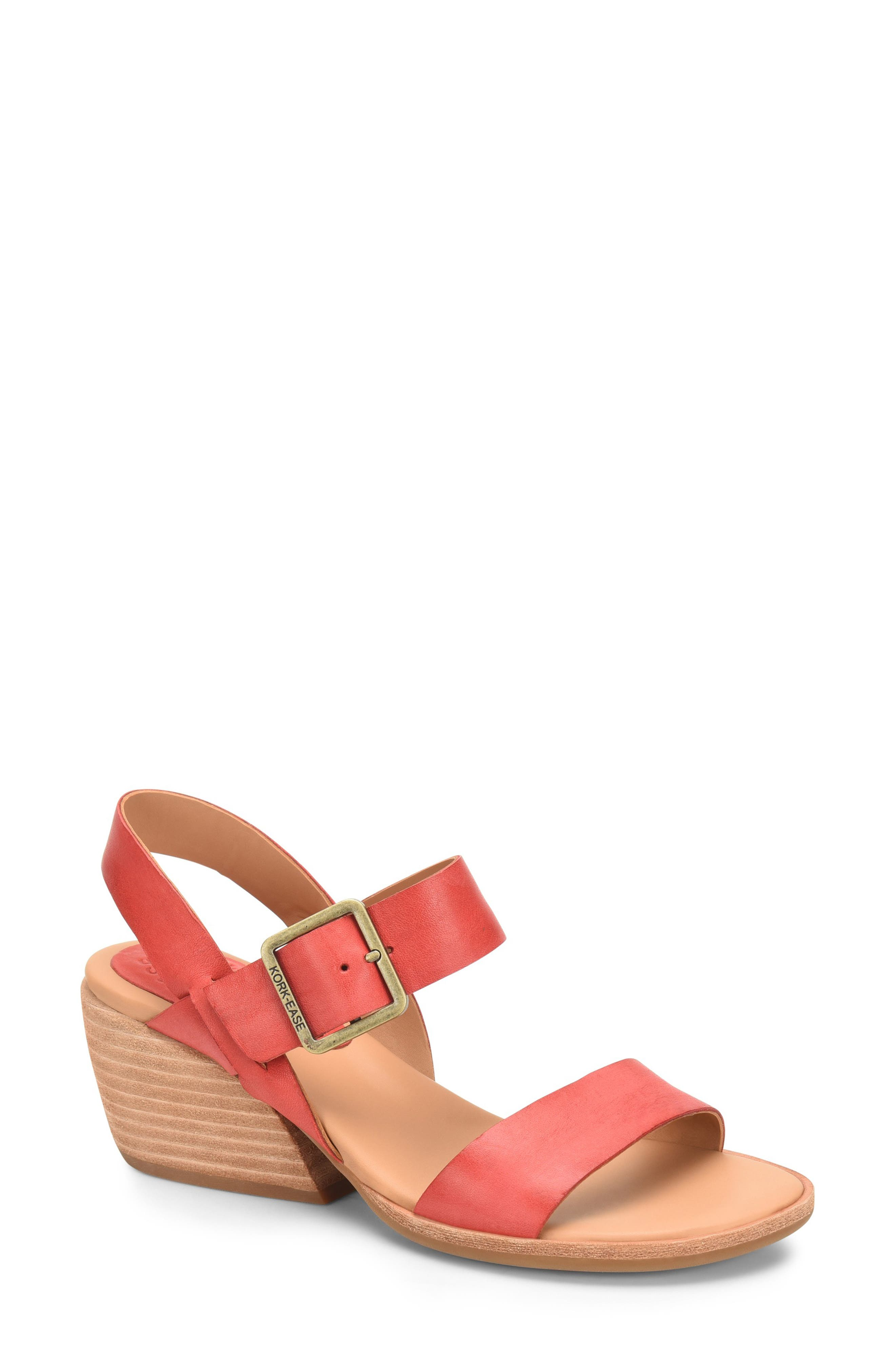 A curved stacked heel gives modern attitude to this slingback buckled sandal resting on a comfortable cushioned footbed. Style Name: Kork-Ease Speke Slingback Sandal (Women). Style Number: 6032817. Available in stores.