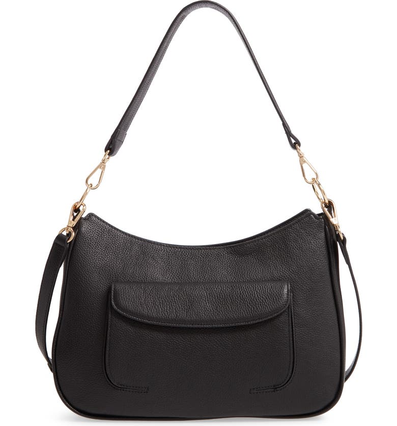 NORDSTROM Finn Leather Hobo Bag, Main, color, BLACK