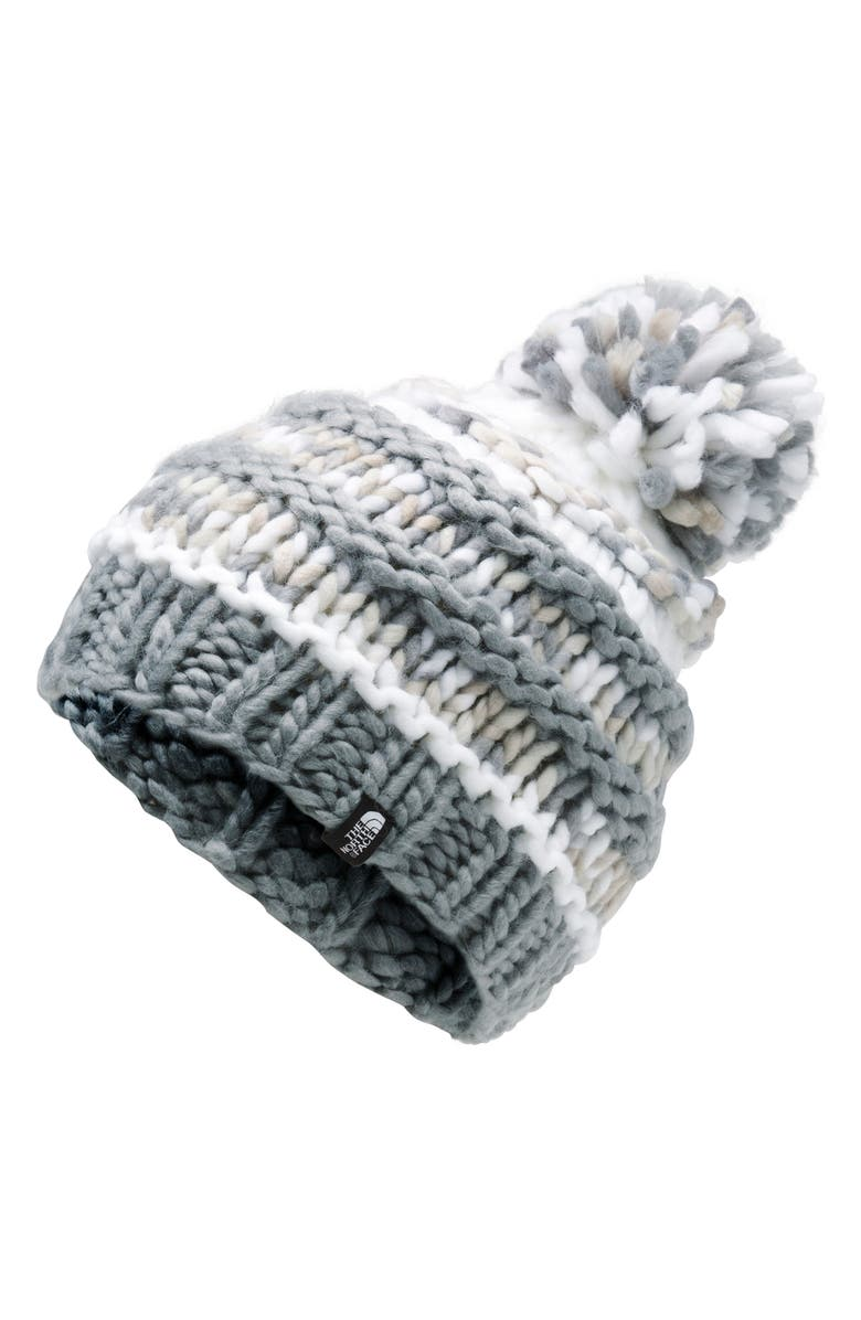 THE NORTH FACE 'Nanny Knit' Beanie, Main, color, MID GREY/ TNF WHITE MULTI