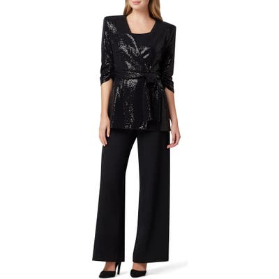 Tahari Sequin Tie Front Smoking Jacket, Black